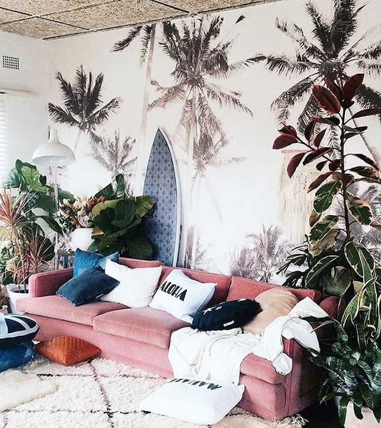 Pink Couch All The Way Love The Tropical Boho Vibes In This Room Hipster Home Decor Tropical Bedrooms Pink Couch Living Room