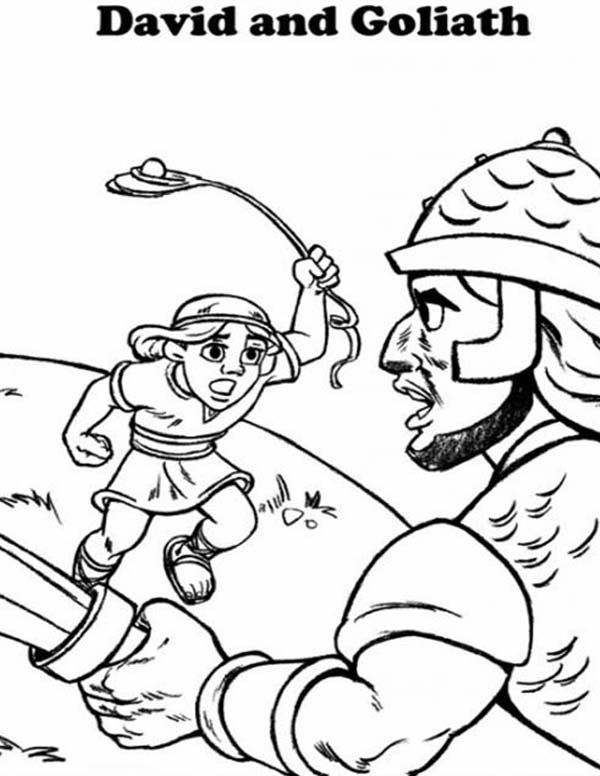 David Fight Goliath In The Bible Heroes Coloring Page Netart Bible Coloring Pages David And Goliath Christian Coloring