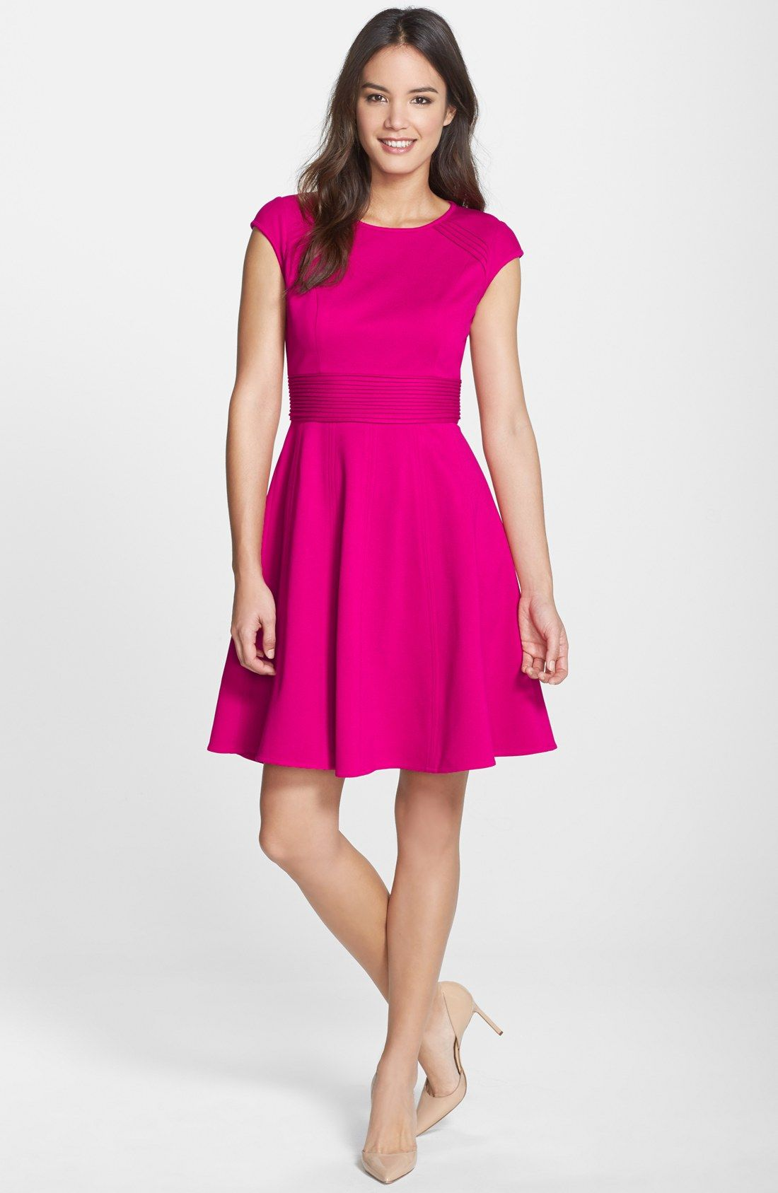 Pintucked Waist Seamed Ponte Knit Fit & Flare Dress | Ropa para ...