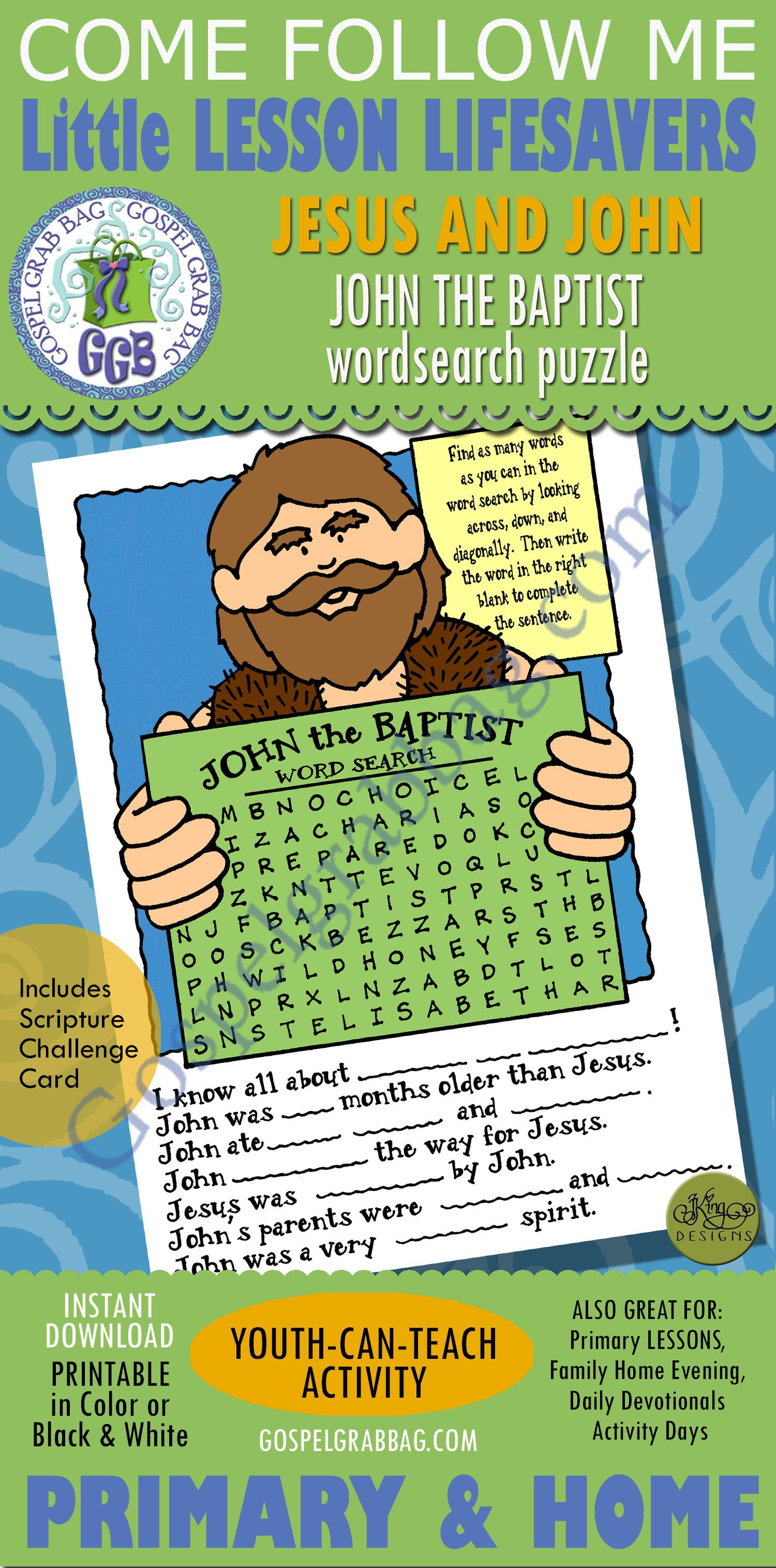 John The Baptist Word Search Puzzle