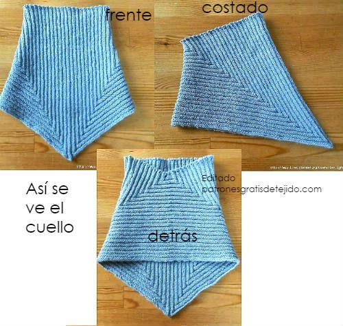 Cuello en pico para tejer en dos agujas | Crochet y Dos agujas ...