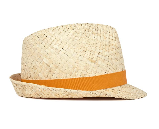 Reiss paper hat. Arvin in natural is a straw hat that is perfect for the spring/summer months. Featuring a finely ribbed orange strip around the side and inner of the hat.