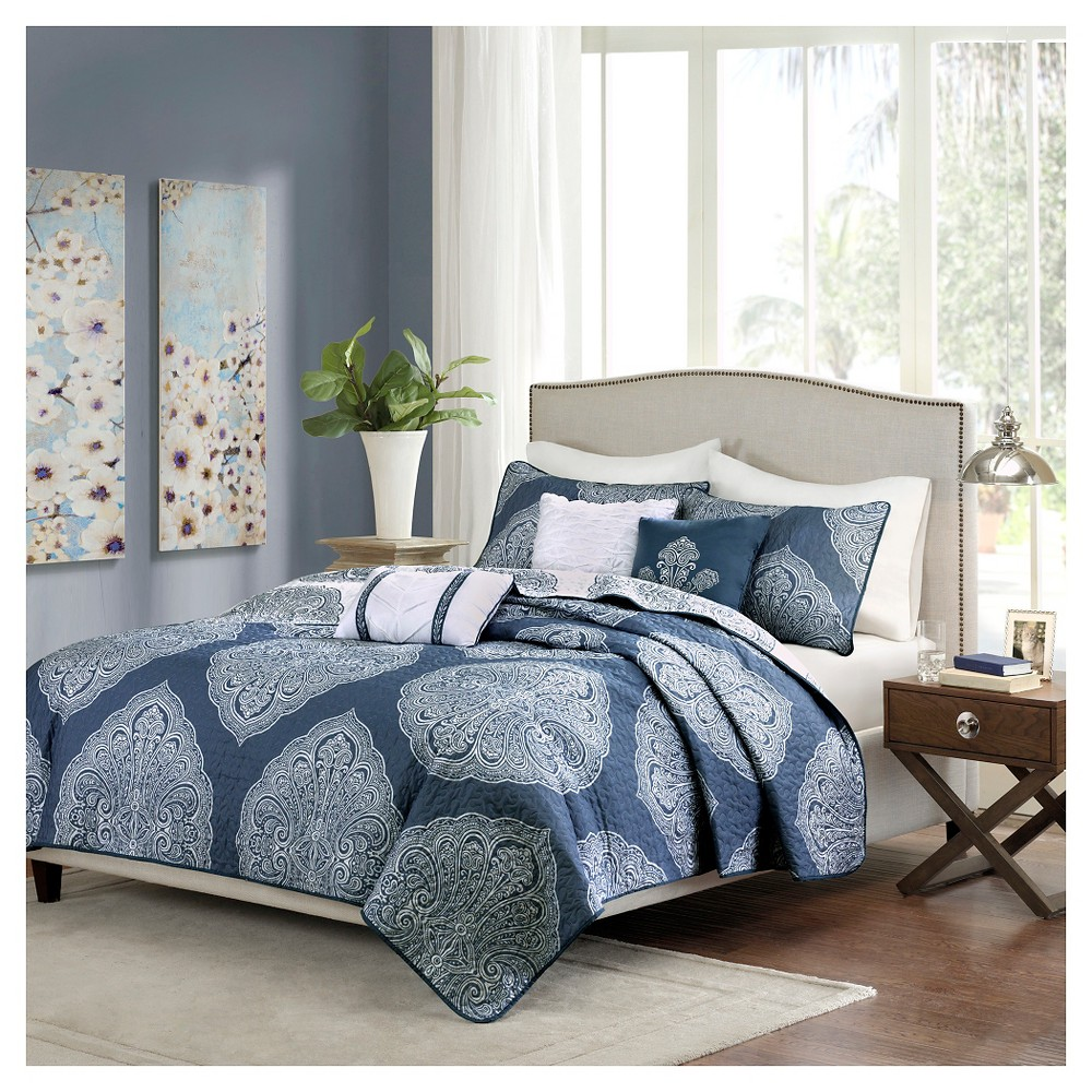 Audra Large Medallion Reversible Quilted Coverlet Set (King/California  King) Navy (Blue