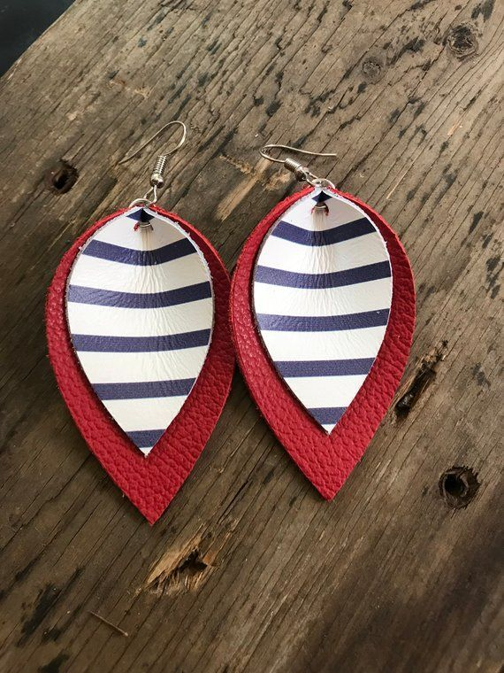 Photo of Red White and Blue Striped Genuine Leather Earrings, 4th of July Earrings,  Leather Jewelry, Patriotic Jewelry, Double Layer Earring