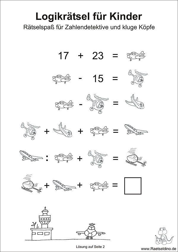 Logikrätsel für Kinder | Rätsel | Pinterest | für Kinder, Schule und ...