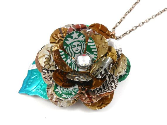 TRENDY 30 inch Pendant Necklace - Starbucks Flower and Leaf. Recycled Soda Can Art  www.etsy.com