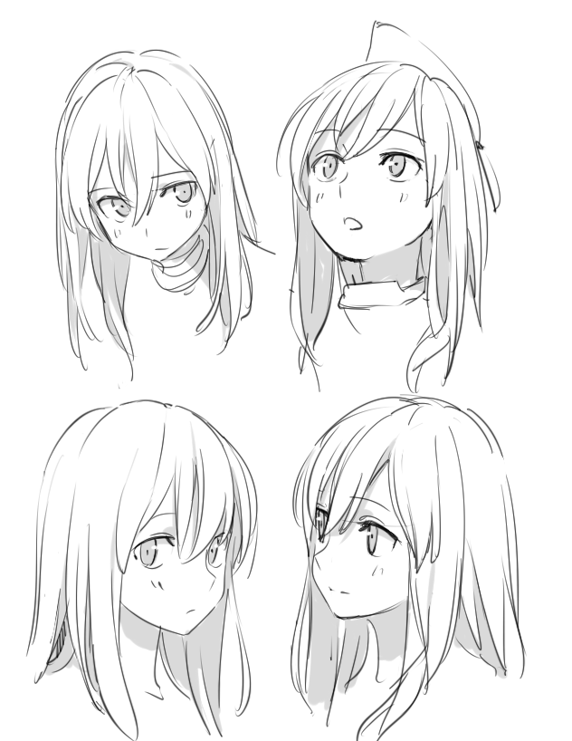 Anime girl face from different angles kinda looks like marionette with her hair down open from mlb