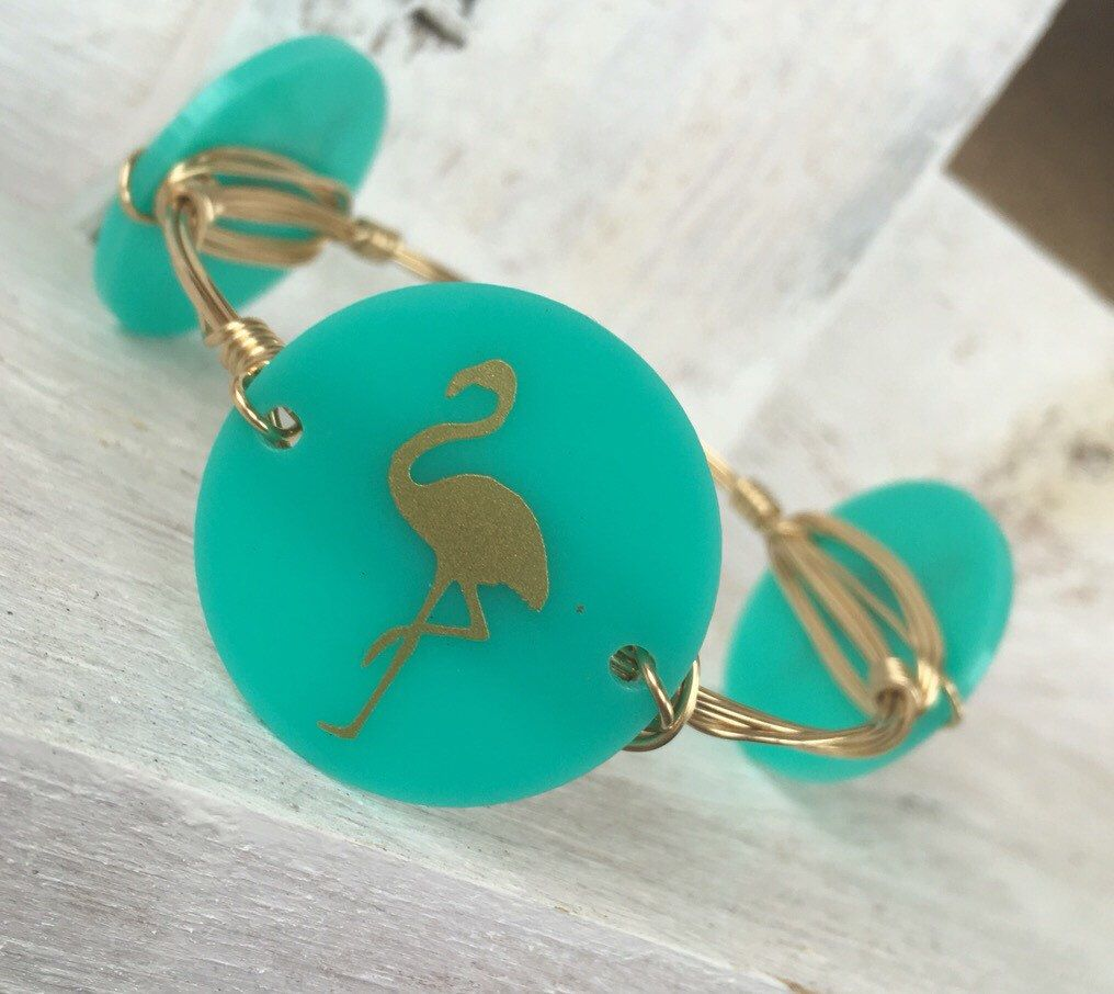 Turquoise and gold Flamingo wire wrapped bangle- Handmade by LxBanglesCo on Etsy https://www.etsy.com/listing/276635076/turquoise-and-gold-flamingo-wire-wrapped