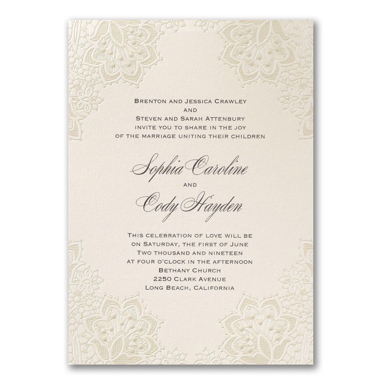 Lace shimmers elegant ivory wedding invitations http lace shimmers elegant ivory wedding invitations httppartyblockinvitations occasions sa monicamarmolfo Choice Image