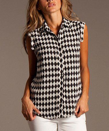 Look what I found on #zulily! Black & White Diamond Sleeveless Button-Up by ravel #zulilyfinds