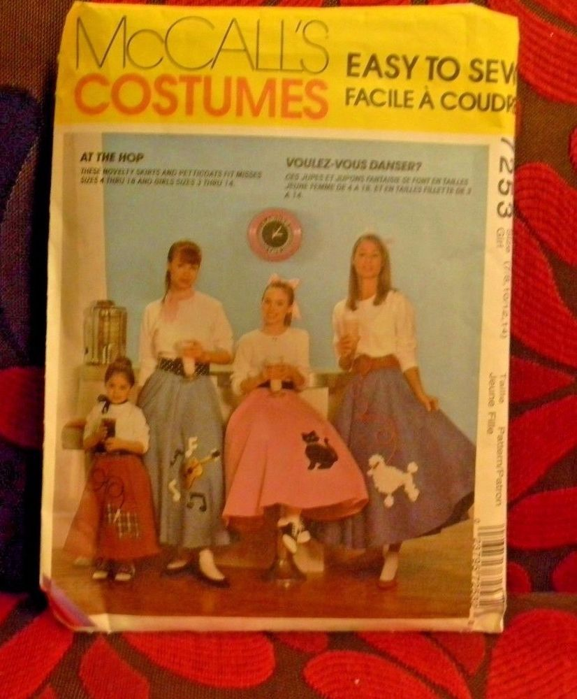 Vintage Sewing Pattern McCall\'s Costumes Poodle Skirts Petticoats 7253