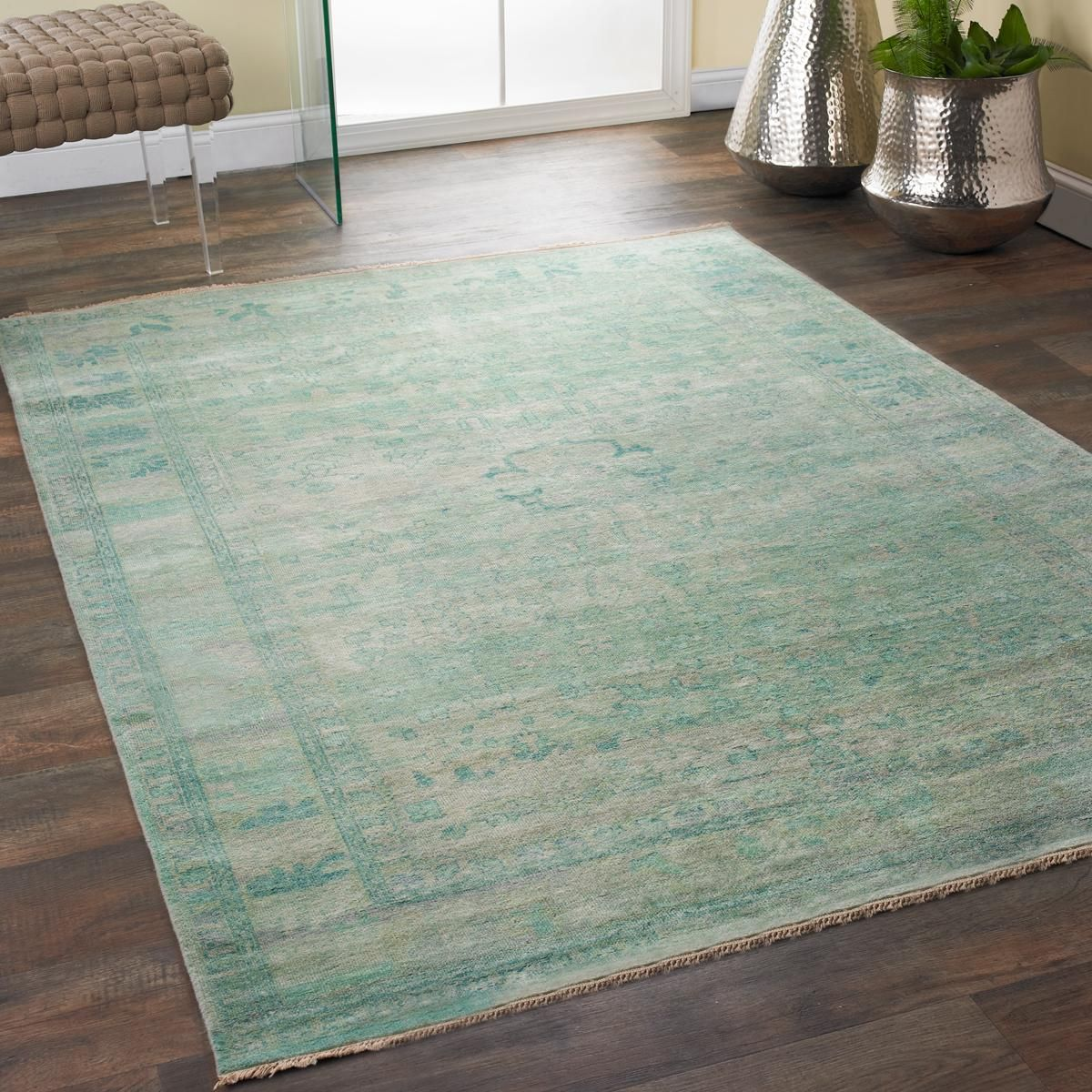 Shimmering Wash Aqua Green Rug This Fine Hand Knotted Rug