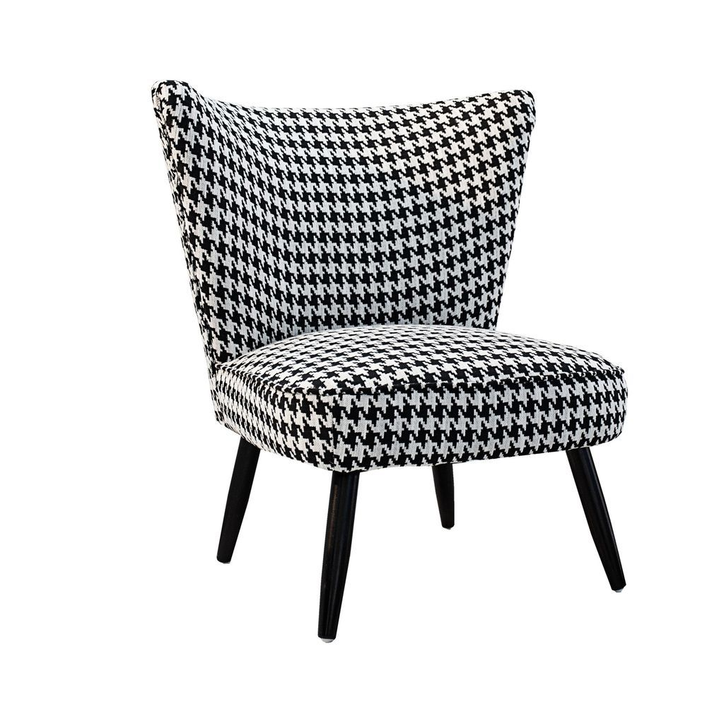 RETRO DESIGN ARMCHAIR AUDREY | black-white, houndstooth ...