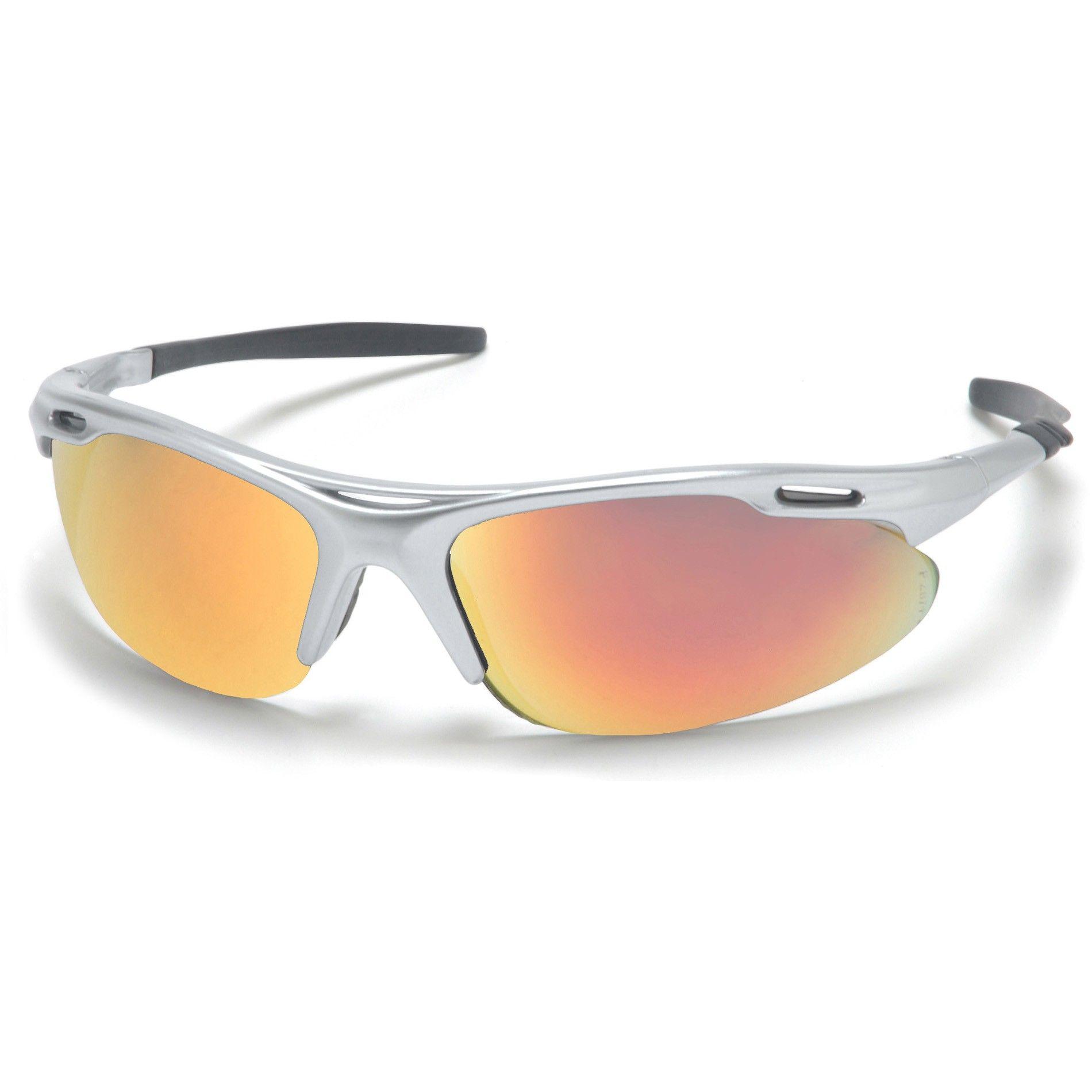 Sleek silver wrap around safety glasses from Safetygirl