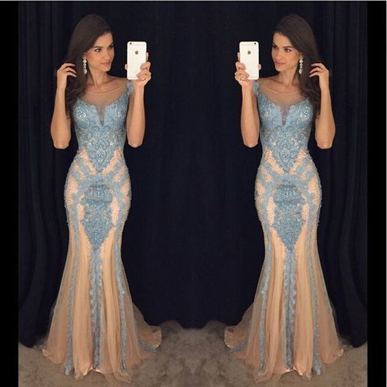 b720e91c0cb Elegant Mermaid Backless Prom Dress - Champagne Tulle with Blue Appliques