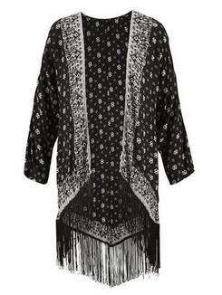 Aniston Longbluse, bedruckt offener Kimono-Style mit Fransen