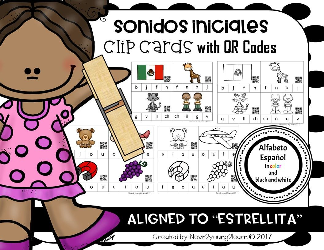 Spanish Alphabet Sonidos Iniciales Clip Cards With Qr