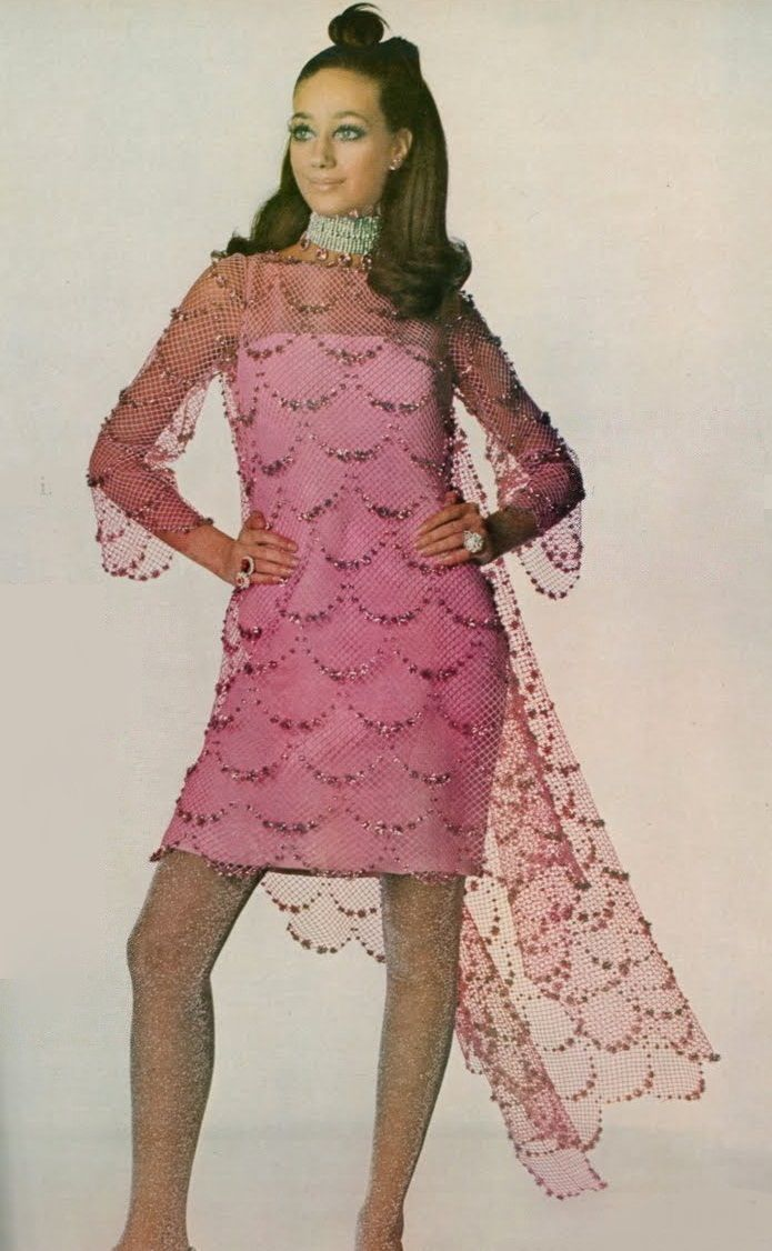 1968 late 60s cocktail dress pink mini above the knee sheer illusion ...