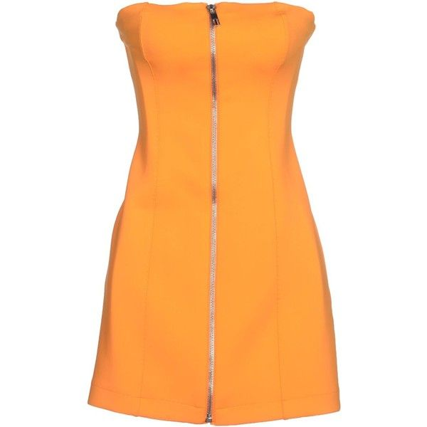 Dirk Bikkembergs Short Dress (945 SEK) ❤ liked on Polyvore featuring dresses, orange, orange sleeveless dress, orange dress, short orange dress, short dresses and deep v-neck dress