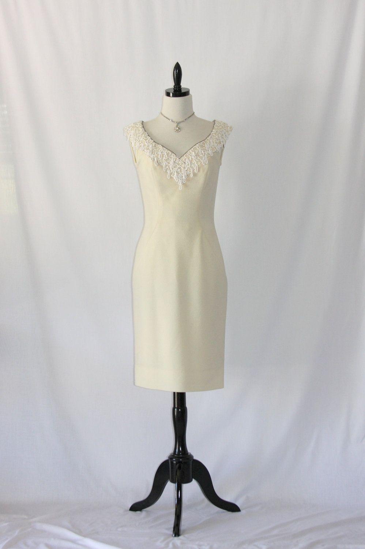 1960\'s Short Vintage Wedding Dress - Designer Sydney North Ivory ...
