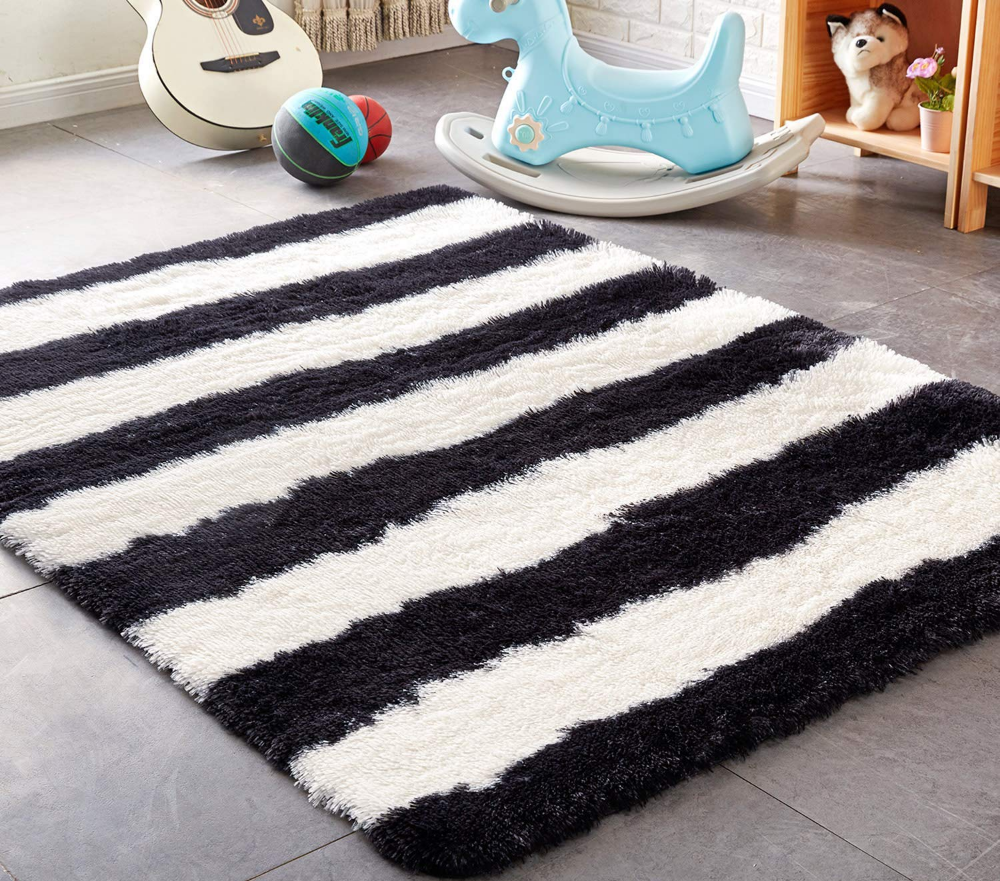 Amazonsmile Pagisofe Black And White Striped Shaggy Area Rugs For