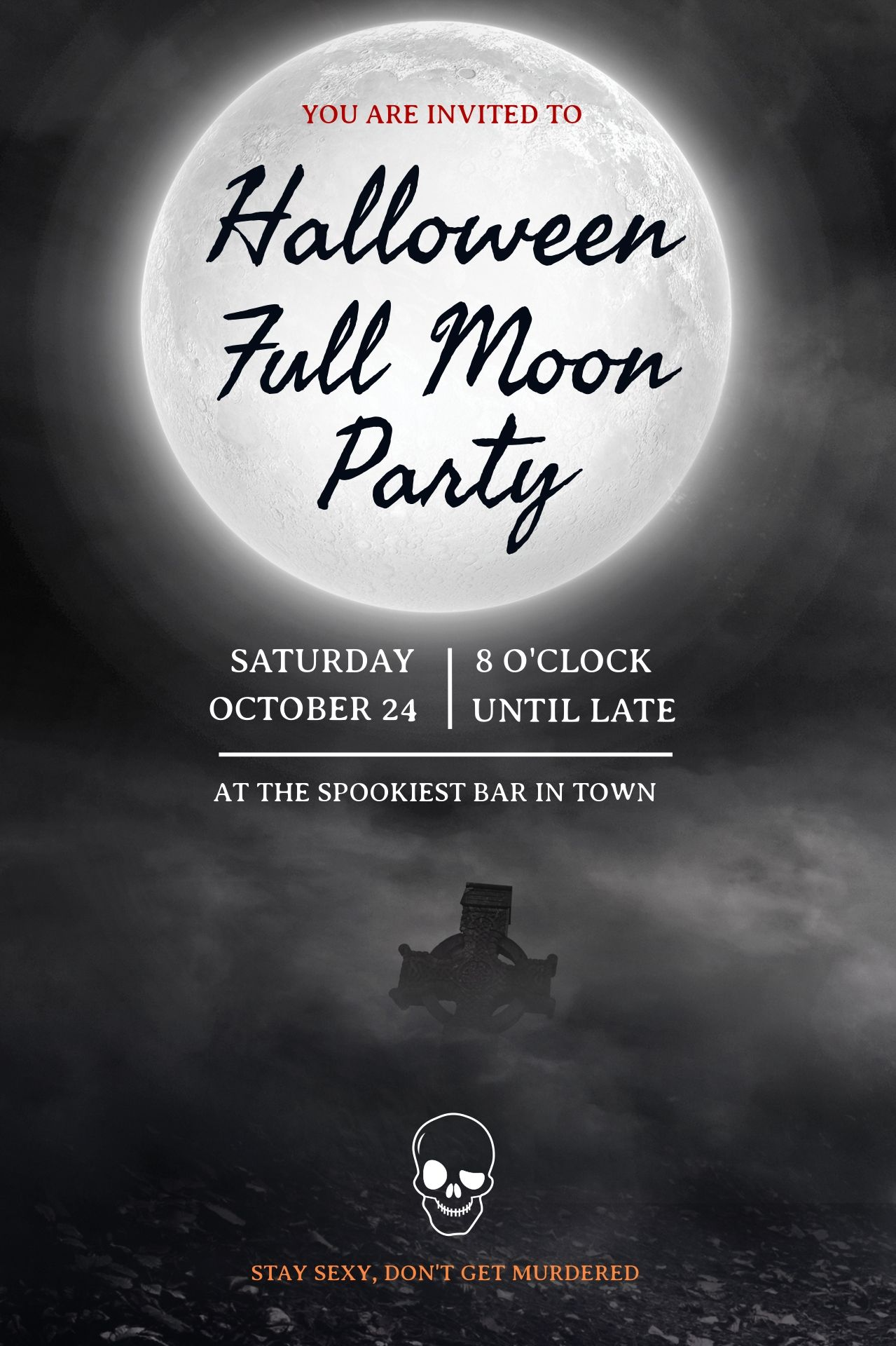 Full Moon Over A Grave On A Costumizable And Printable Halloween Full Moon Party Halloween Party Invitation Template Party Invite Template Halloween Full Moon
