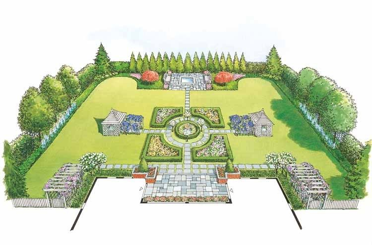 Eplans landscape plan a traditional plan with a formal for Formal rose garden layout