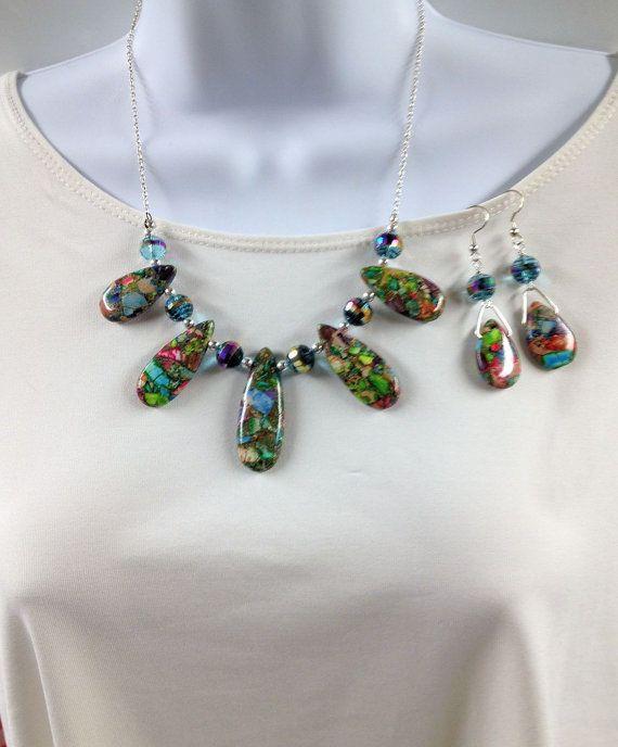 Sea jasper necklace earrings set  Mosaic sea by UniquelyArdath, $36.99