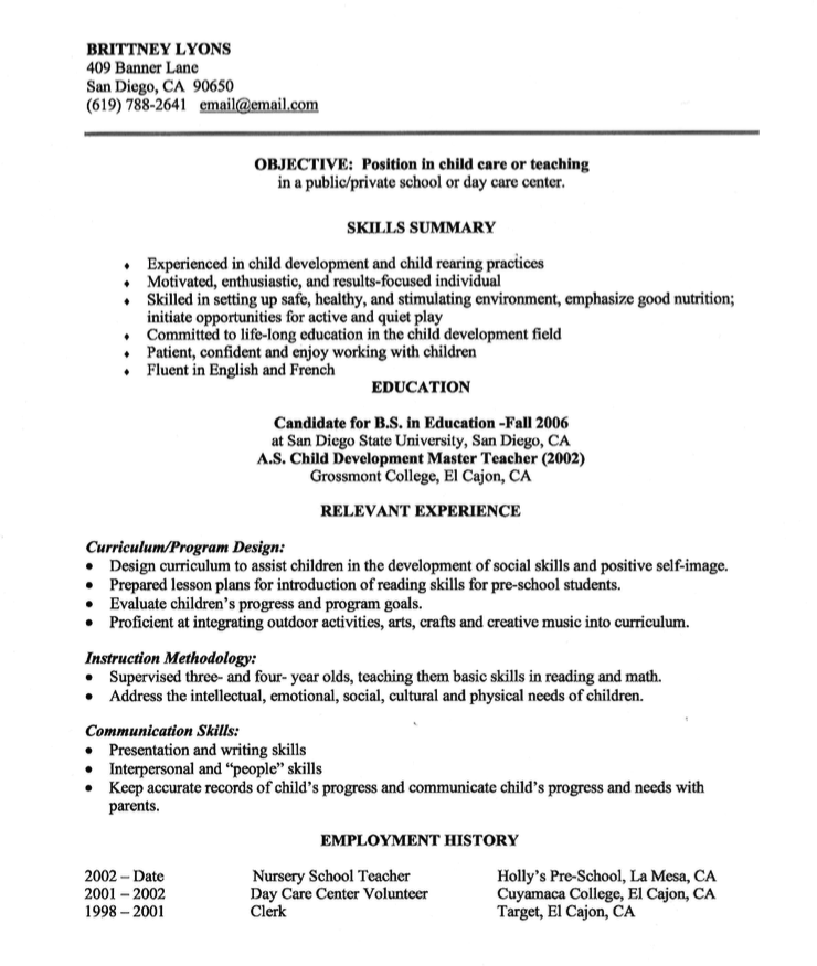 Example Of Child Care Resume Http Exampleresumecv Org Example