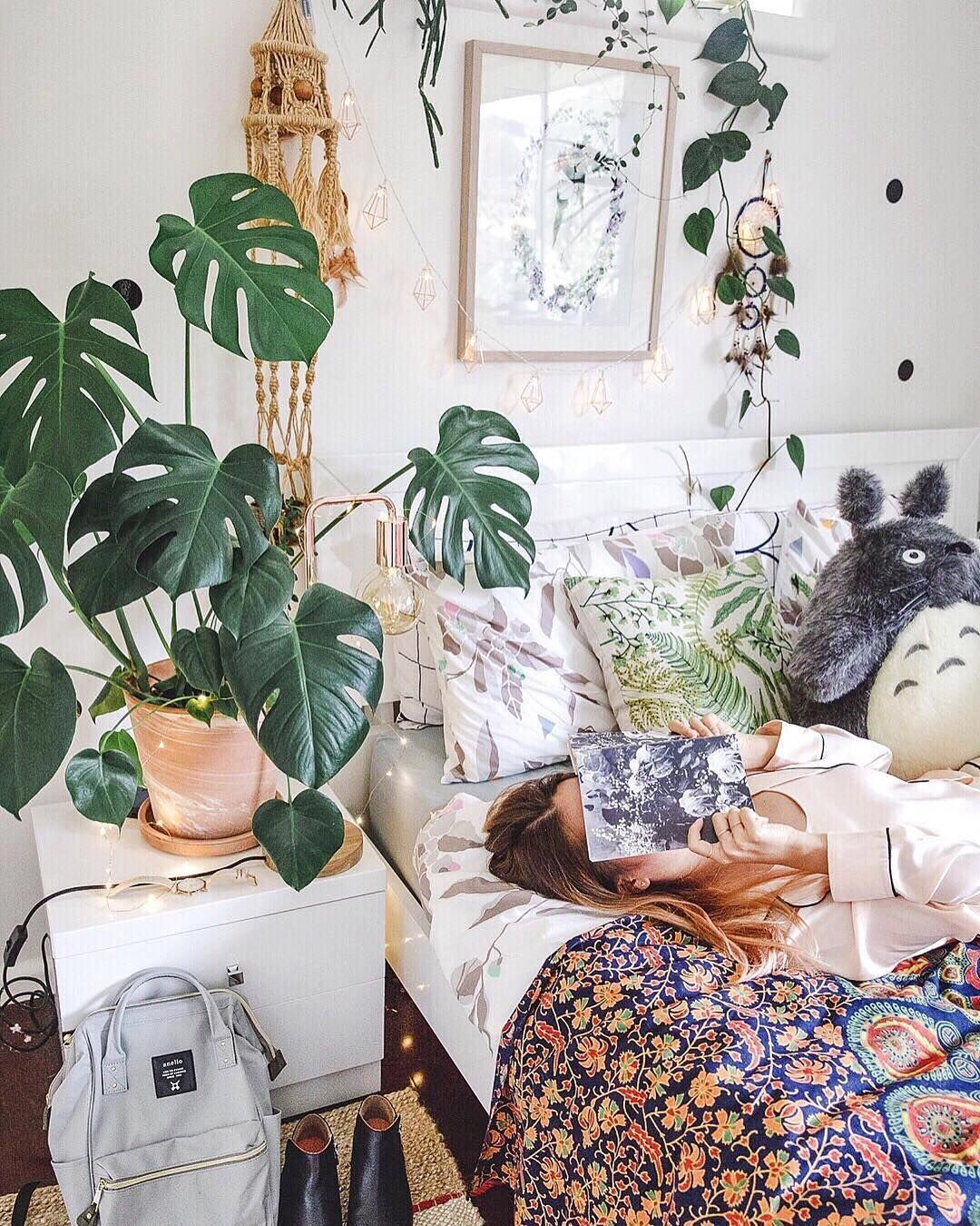 Maximalism. Boho Bedroom With Macrame And Plants