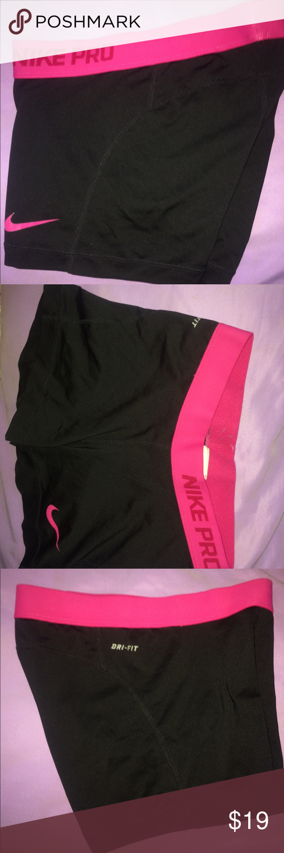Nike Pros S Comfortable black spandex with a pink logo on the left thigh and a pink rim along the top (dri-fit) Nike Other #pinkrims Nike Pros S Comfortable black spandex with a pink logo on the left thigh and a pink rim along the top (dri-fit) Nike Other #pinkrims