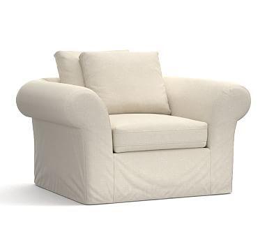 PB Air Armchair Slipcover, Textured Basketweave Flax