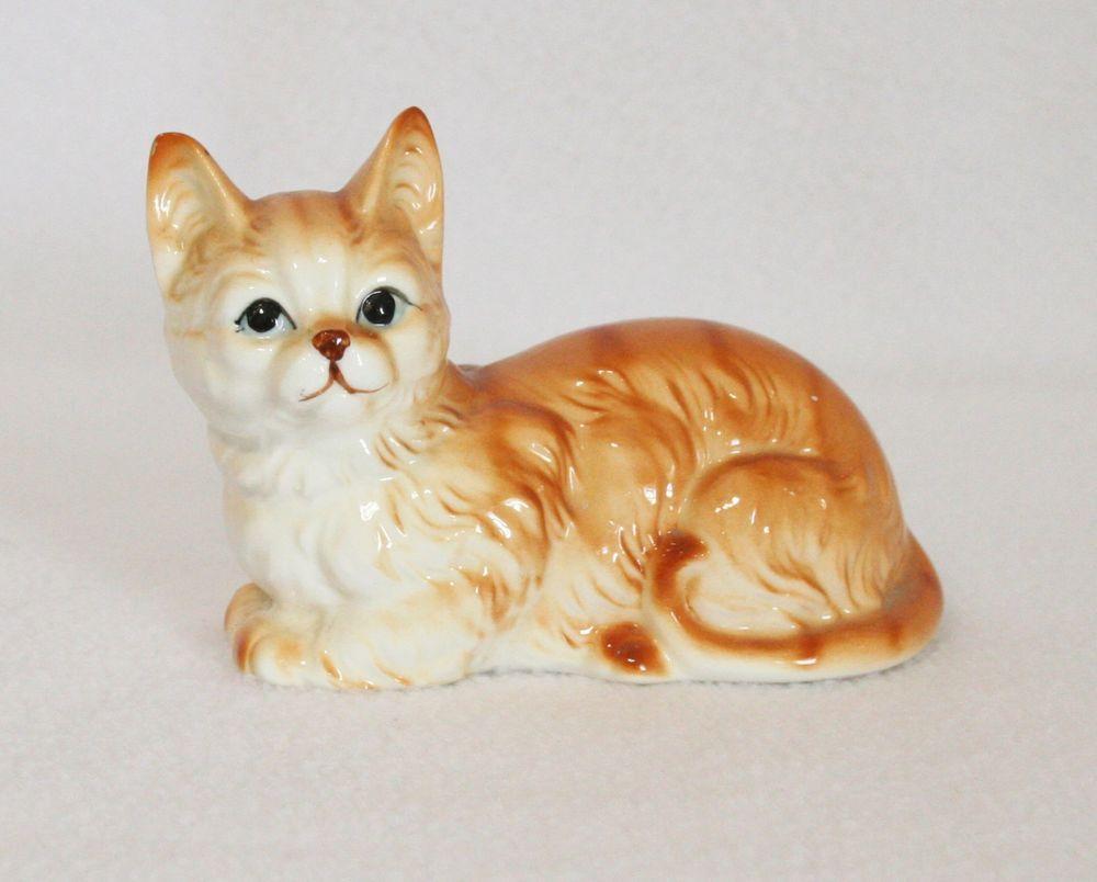 Vintage Porcelain Orange Cat Figurine Artistic Gifts Inc Buena Park