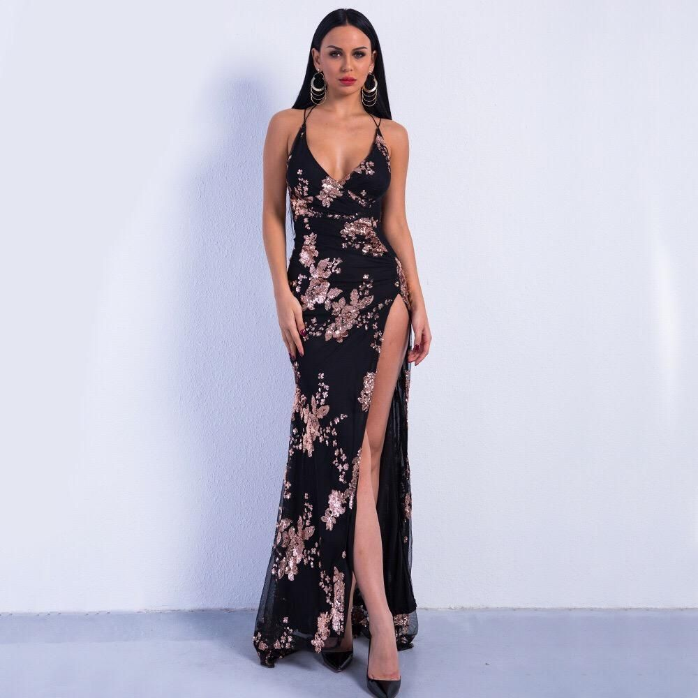 Lele black and rose gold sequin front split sweeping maxi dress