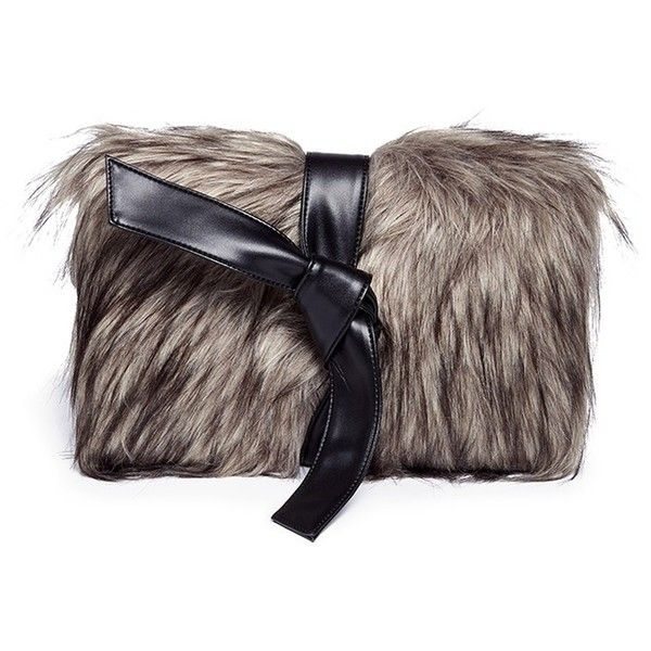 64974115fb37 Vasic  Lou  faux fur panel leather clutch ( 285) ❤ liked on Polyvore