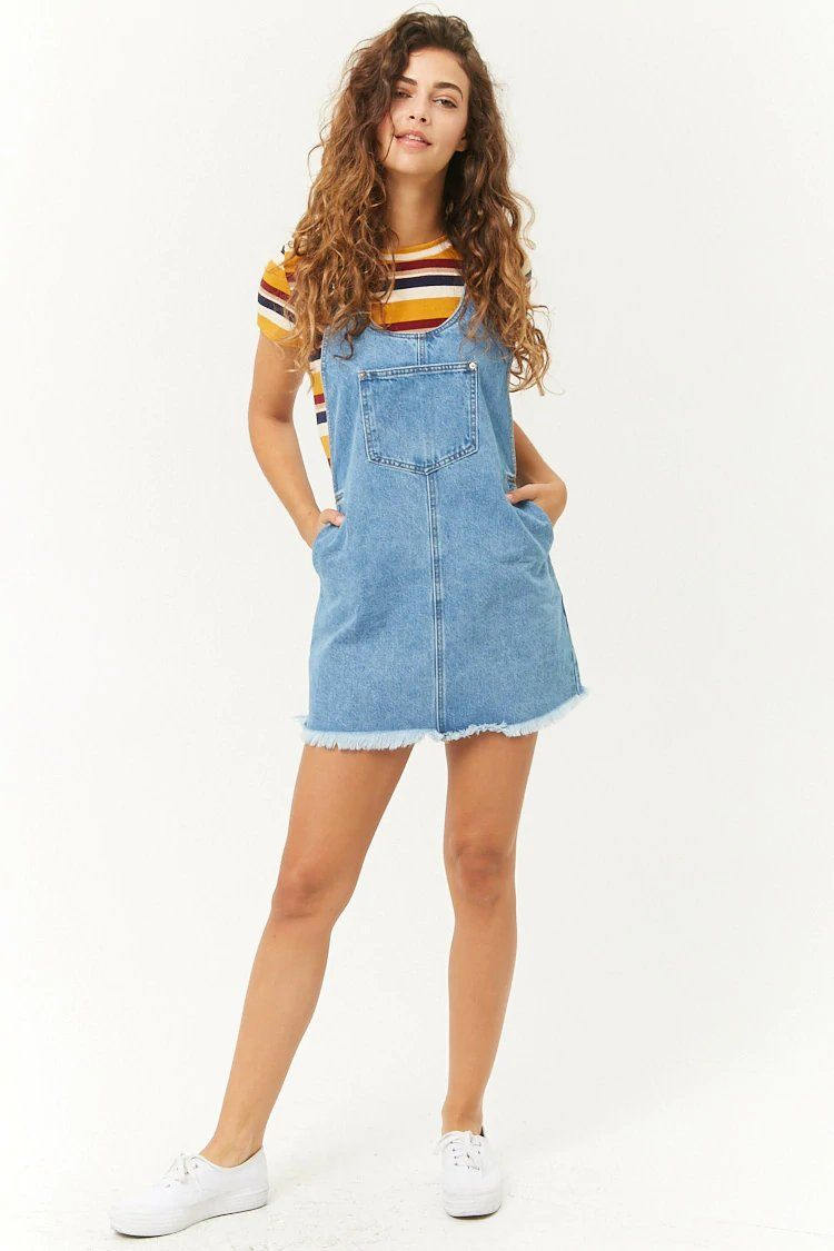 6afdfb9ec Frayed Denim Overall Dress | Iou dresses ♥️ | Overol de mezclilla ...