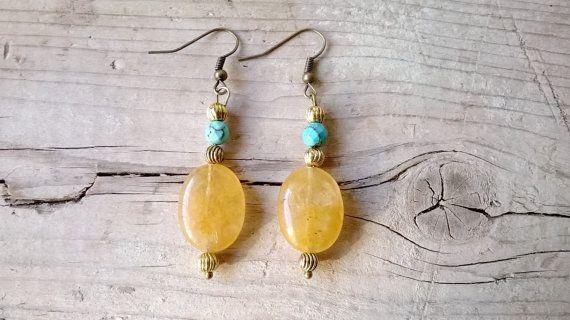 Earrings yellow quartz and turquoise Boho by MartaDissenys on Etsy