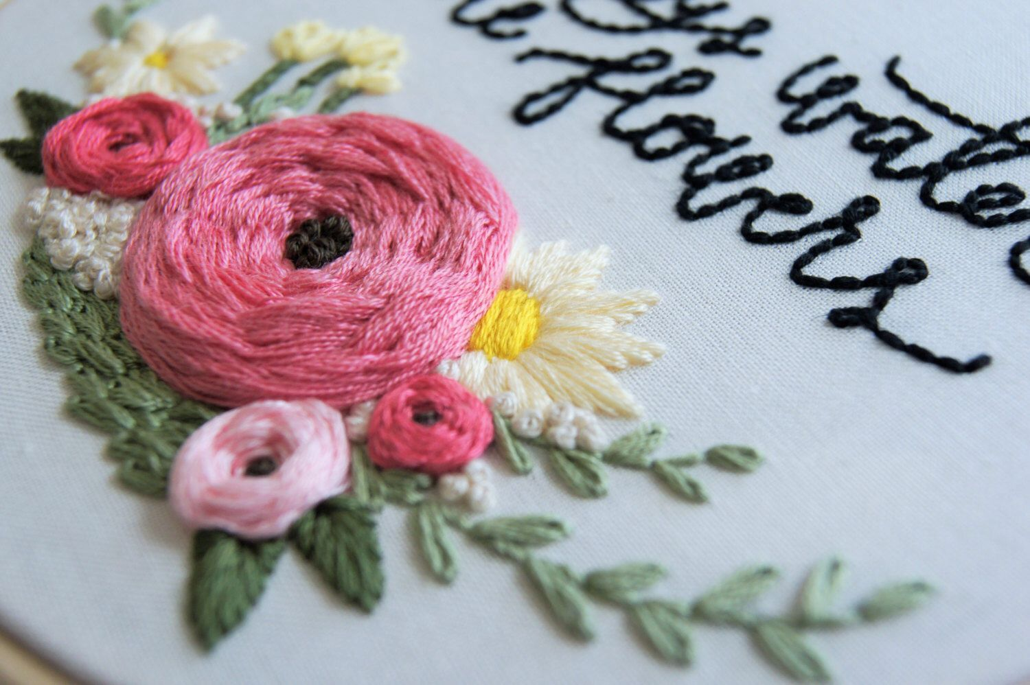 Hand embroidery pattern floral wreath pattern embroidery supplies