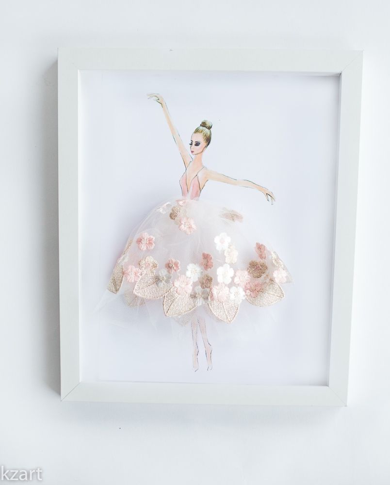 Print little ballerina with a 3d fabric tutu perfect for girls room decor baby girl art ballerina nursery wall art wonderful gift for a little ballet