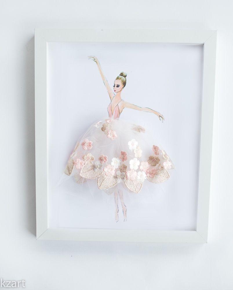 Ballerina print girls nursery decor wall art dance tutu girl