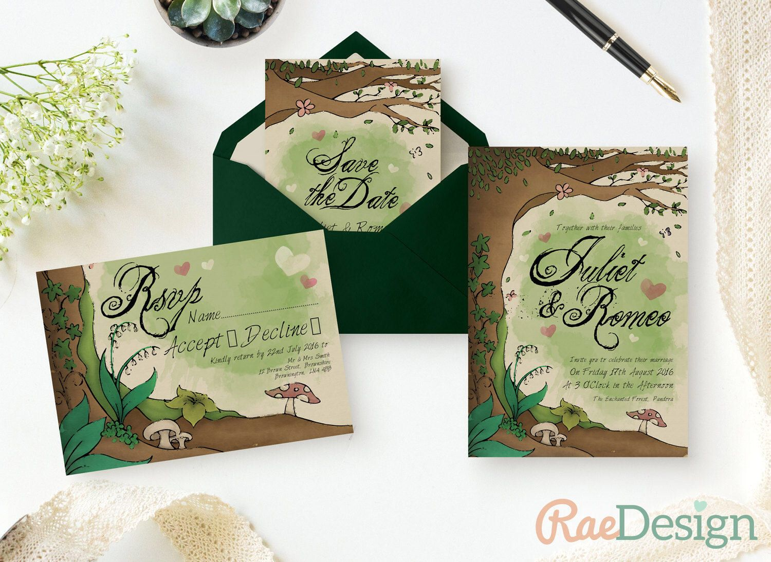 Enchanted Forest Wedding Invitation Fairy Tale