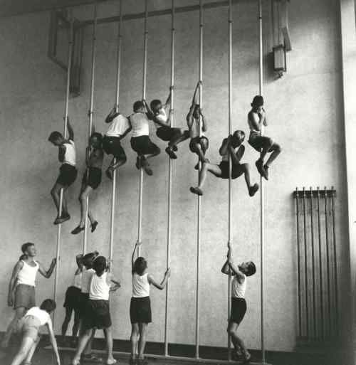Plimsoles....tick.                              Shorts & t-shirt...tick.   Rope burns on your arms and legs.... tick.  Best gym class ever.... TICK!