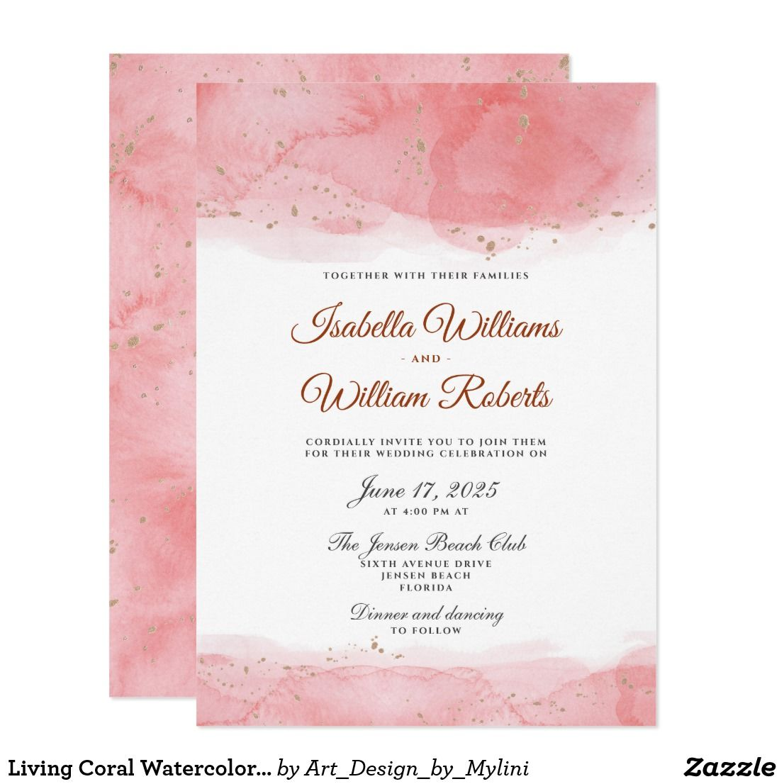 Living Coral Watercolor Faux Gold Dots Wedding Invitation