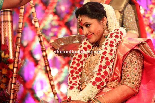 Actress sneha in kanchipuram silk saree for her baby ...
