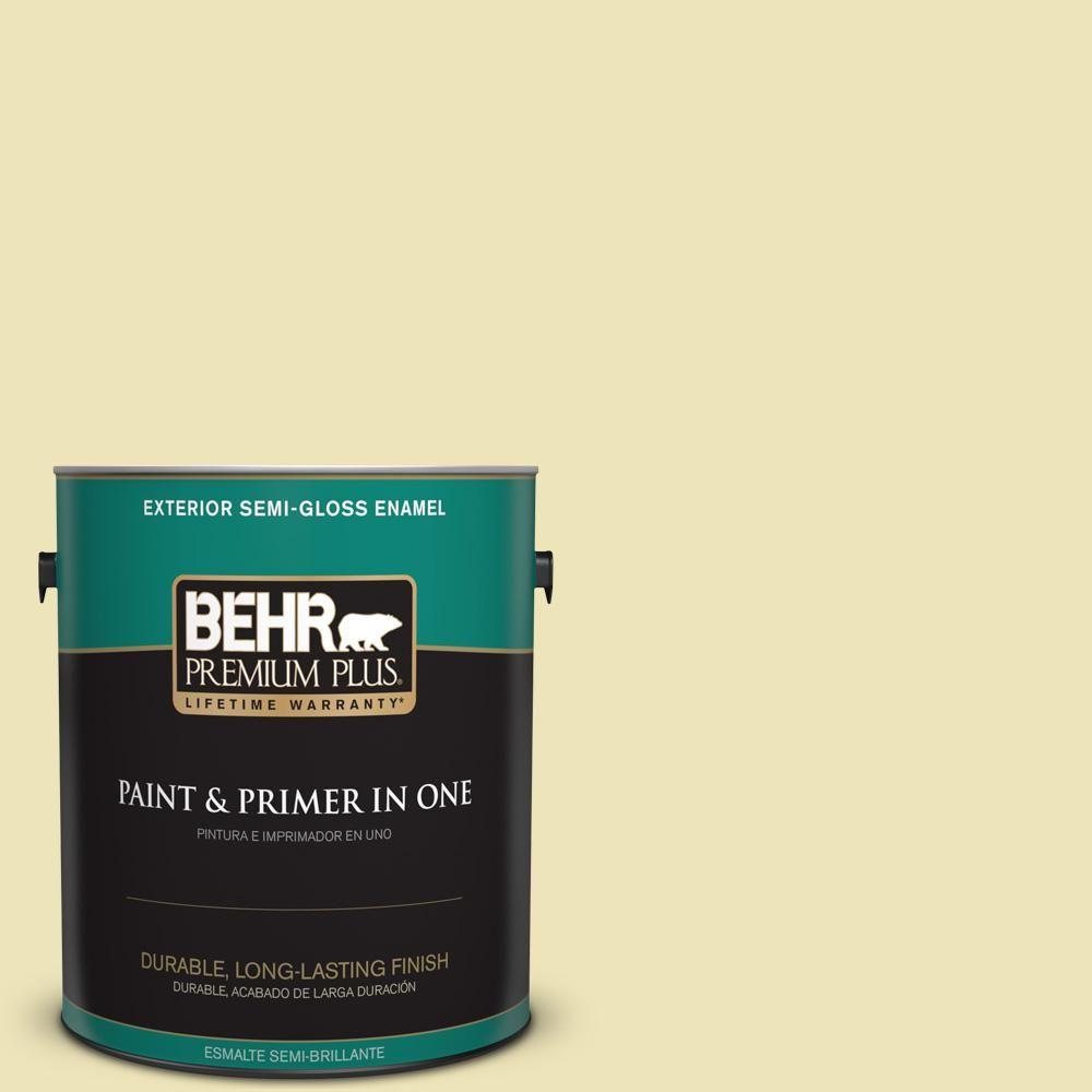 BEHR Premium Plus 1 gal. #PPU9-13 Yellow Wax Pepper Semi-Gloss Enamel Exterior Paint