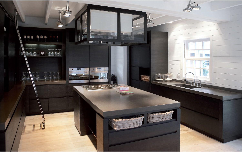 Ikea Amenagement Armoire Cuisine ~ Xvl Cusine En Ch Ne Noir Hotte Ilot Sur Mesure Mosman Ii