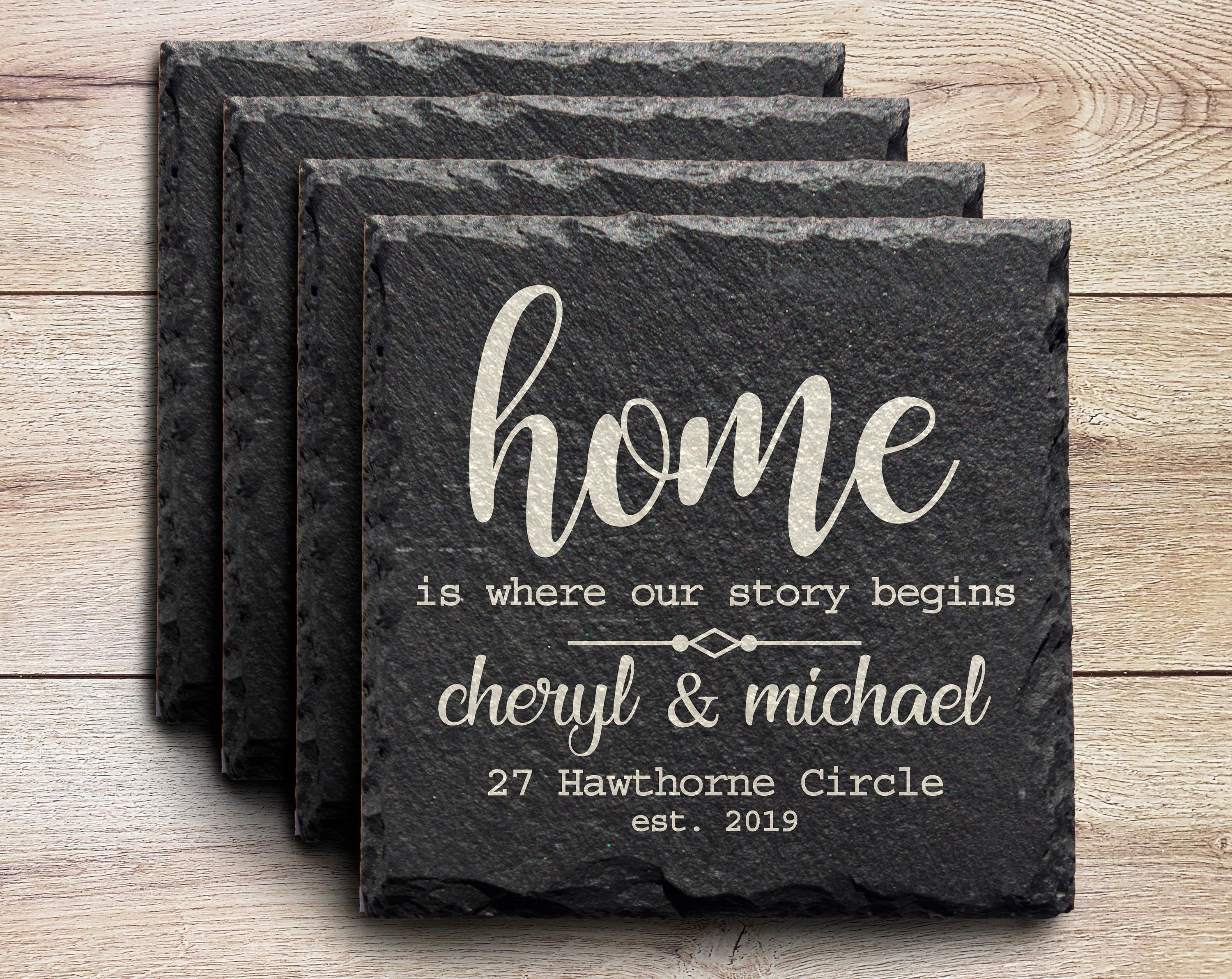 personalised wedding coaster slate gift idea novelty Engagement rustic engraved