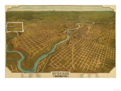 Washington - Panoramic Map of Spokane Art Print