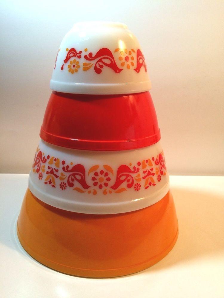 Vintage Set of 4 Pyrex Friendship Mixing Bowls Red Orange Birds ...