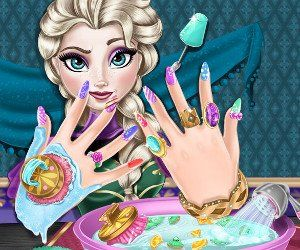 Elsa Nails Spa Frozen Games From Babyhazelworld Com Frozen Games Disney Princess Elsa Princess Games